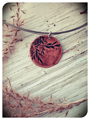 Berries - Etched copper pendant by Dana Reed