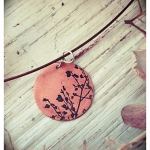 Leaves - Etched copper pendant by Dana Reed