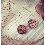 Twigs - Etched copper earrings by Dana Reed